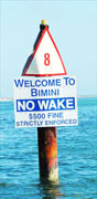 Bimini, Harbour Entrance, No Wake Sign
